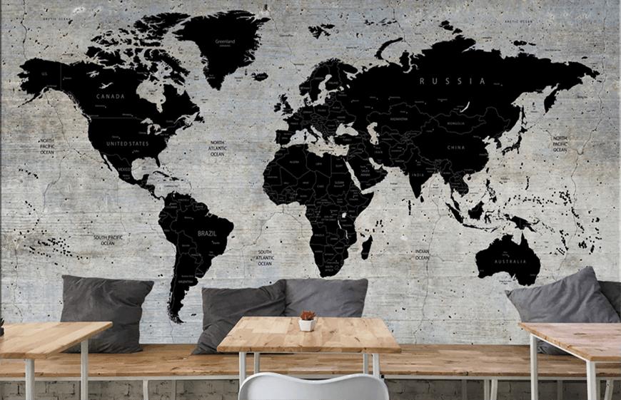 Papel Pintado Con Mapa Del Mundo